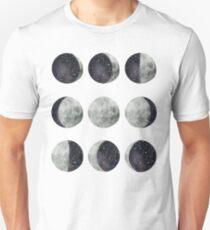 Moon Phases - Moon shirt - Moon dress - Moon sticker- Watercolor & Ink  Slim Fit T-Shirt