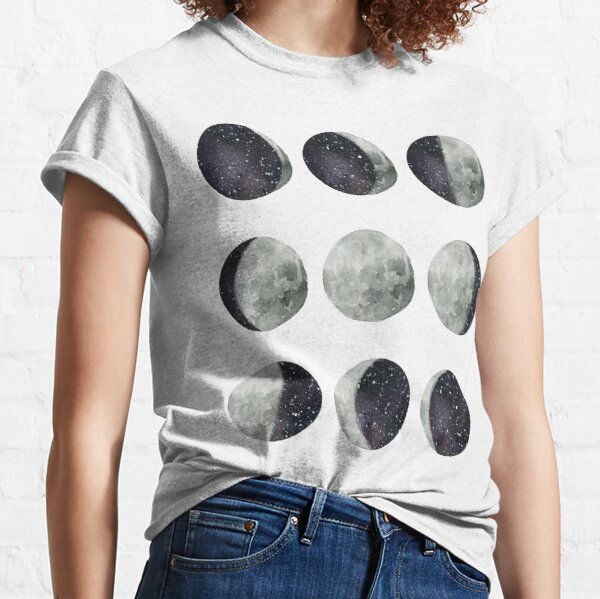 Moon Phases - Moon shirt - Moon dress - Moon sticker- Watercolor & Ink  Classic T-Shirt