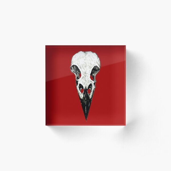 Raven Skull Acrylic Block