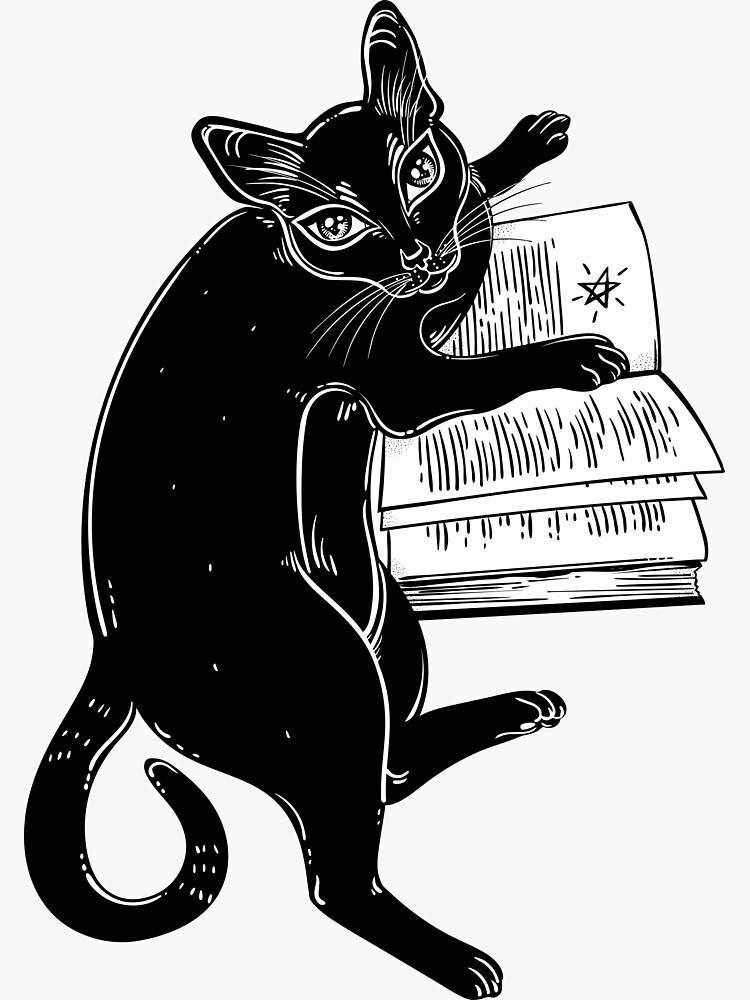 Intelligente schwarze Katze, die das magische Buch liest von KatjaGerasimova