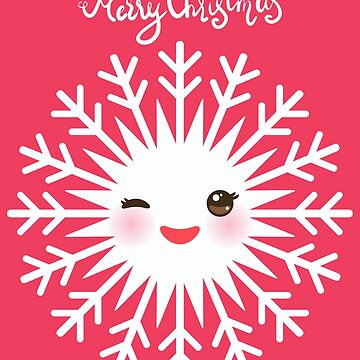Merry Christmas card Kawaii snowflake white funny face with eyes and red cheeks on pink background.  by EkaterinaP