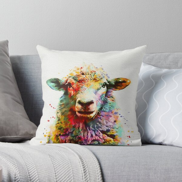 Sheep Watercolor Throw Pillow