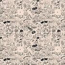 Cool pattern full of aliens, celestial bodies and crazy machines by Zoo-co