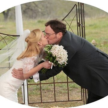 Dwight and Angela kissing at their wedding - circle cutout by p0pculture3