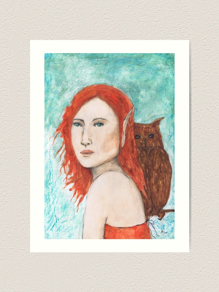 Alternate view of Fairy and owl Art Print