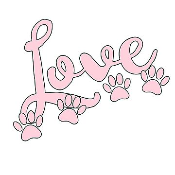 Love Typography With Dog Paw Prints In Pastel Pink by Almdrs