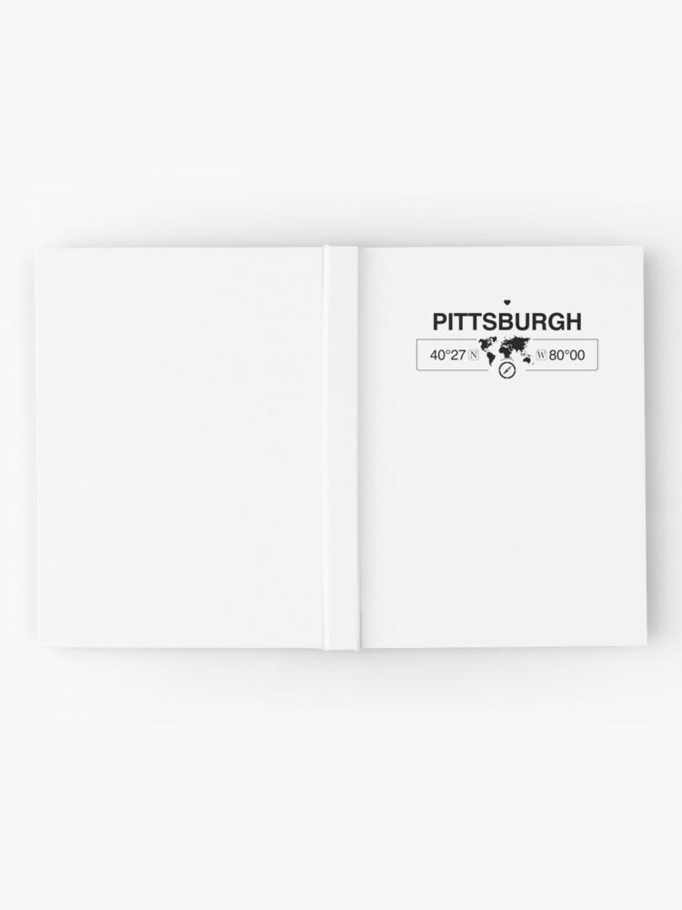 Vista alternativa de Cuaderno de tapa dura Mapa de Pittsburgh, Pensilvania, GPS, obras de arte con brújula
