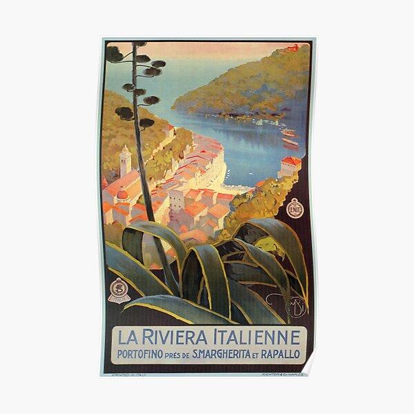 Vintage Italian Riviera Travel Portofino Poster