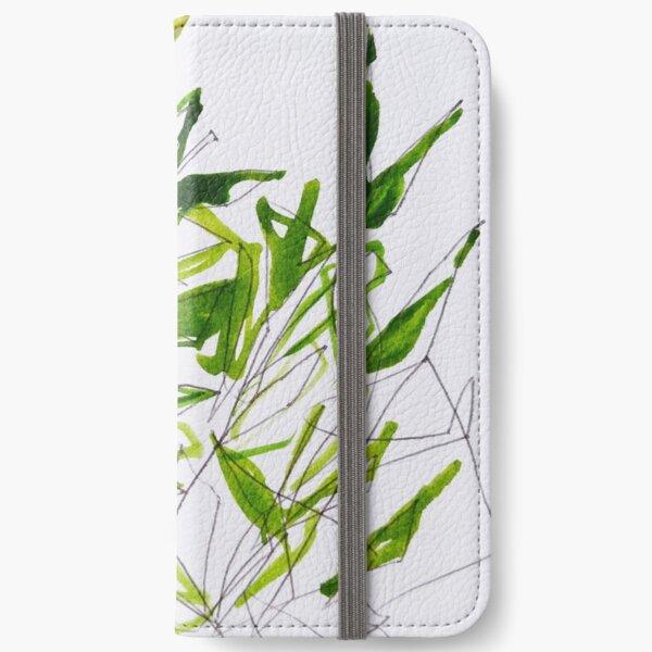 Scribbled leaves iPhone Wallet