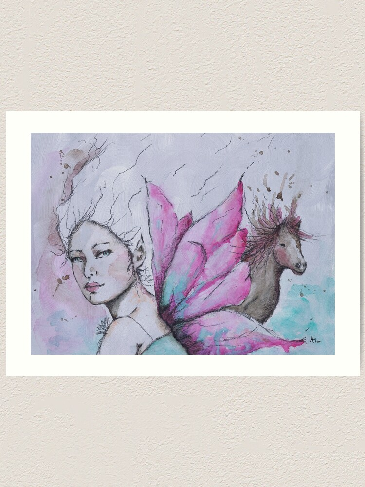 Alternate view of Fairy and horse Art Print