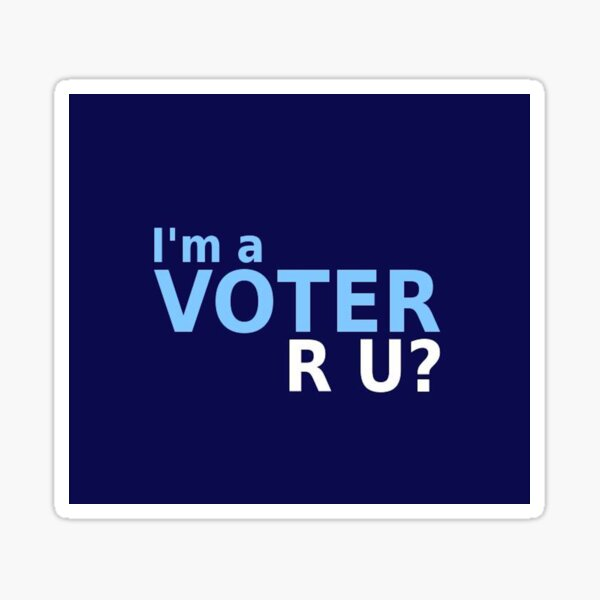 Navy I'm A Voter Sticker