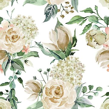 Creme white watercolor roses by junkydotcom
