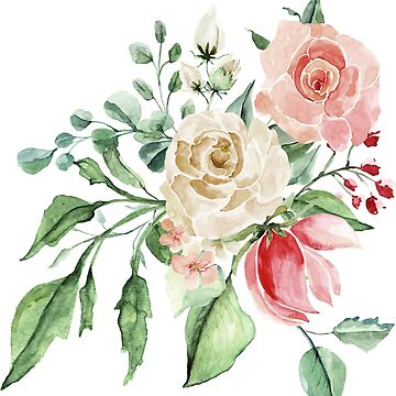 Pink watercolor roses by junkydotcom