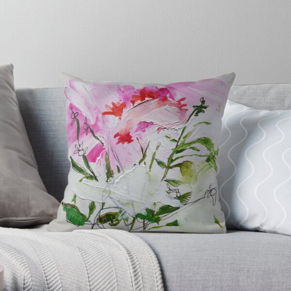 Brushed flowers Throw Pillow