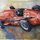 Red Sport Cars in Watercolour by shevchukart by Yuriy Shevchuk