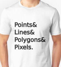 Punkte, Linien, Polygone, Pixel Unisex T-Shirt