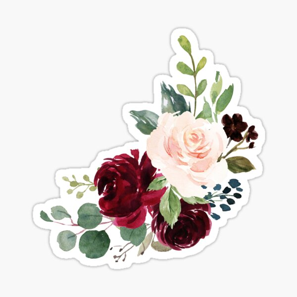 Pink burgundy floral bouquet Sticker