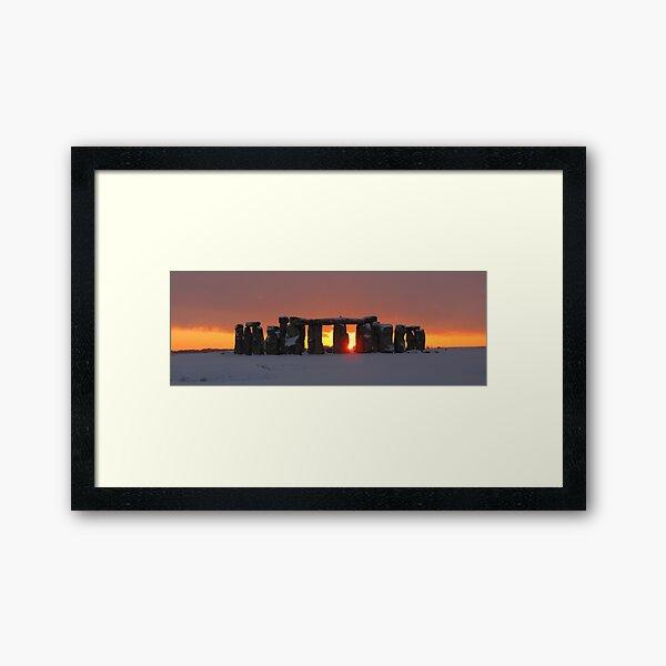 Snowy Stonehenge Framed Art Print