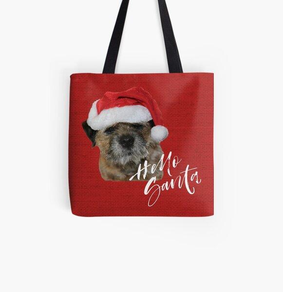 Border Terrier Cushion, Mug, Tote Bag, Sweatshirt - Hello Santa All Over Print Tote Bag