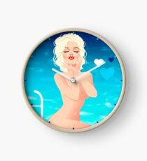 Marilyn by the pool Clock