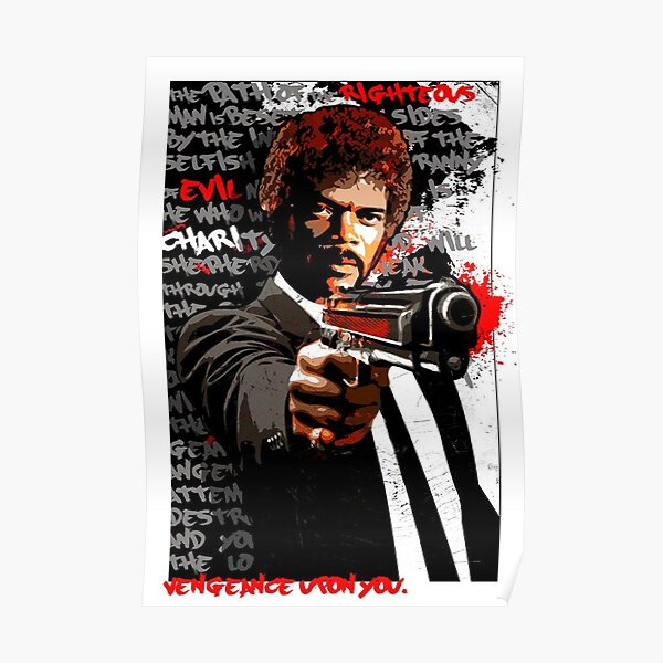 PULP FICTION Pistol Ezekiel Quotes Art Wall Print POSTER FR