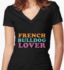 French Bulldog Lover Women's Fitted V-Neck T-Shirt