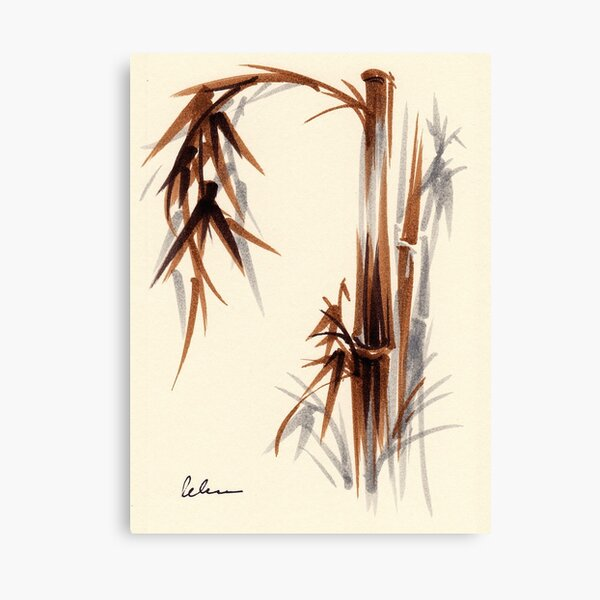 Huntington Gardens Plein Air Bamboo Drawing #1 Canvas Print