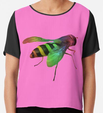 bunte Wespe in den Farben des Regenbogens, Insekt Chiffontop für Frauen