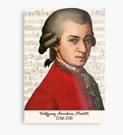 Wolfgang Amadeus Mozart Grunged Metal Print