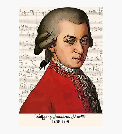 Wolfgang Amadeus Mozart Grunged Photographic Print