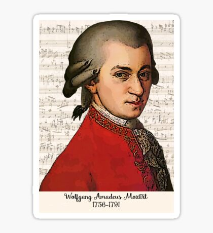 Wolfgang Amadeus Mozart Grunged Sticker
