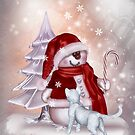 Christmas snowman with cat by Andrea Tiettje