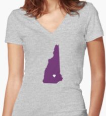 New Hampshire Love in Purple Women's Fitted V-Neck T-Shirt