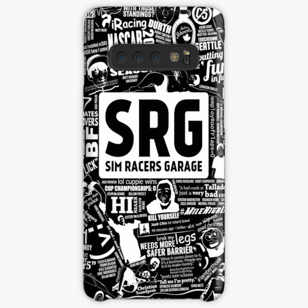 Sim Racers Garage Collage - White w/Black Products Samsung Galaxy Snap Case