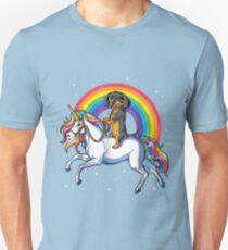Camiseta unisex Dachshund paseo Unicornio