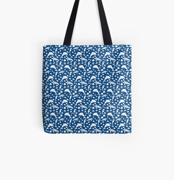 Starfish and other local heroes blue All Over Print Tote Bag