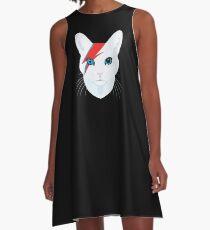 Katze Bowie A-Linien Kleid