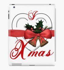 i love xmas - heart with christmas bells iPad Case/Skin