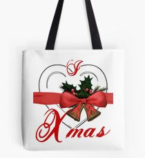i love xmas - heart with christmas bells Tote Bag