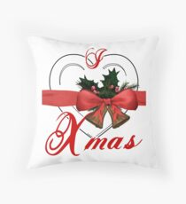 i love xmas - heart with christmas bells Throw Pillow