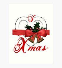 i love xmas - heart with christmas bells Art Print