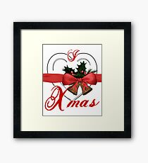 i love xmas - heart with christmas bells Framed Print