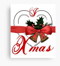 i love xmas - heart with christmas bells Canvas Print
