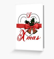 i love xmas - heart with christmas bells Greeting Card
