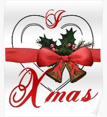i love xmas - heart with christmas bells Poster