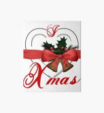 i love xmas - heart with christmas bells Art Board