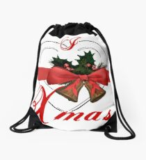 i love xmas - heart with christmas bells Drawstring Bag