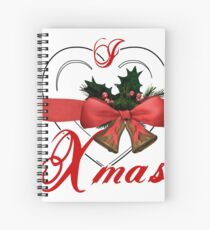 i love xmas - heart with christmas bells Spiral Notebook