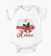i love xmas - heart with christmas bells One Piece - Short Sleeve