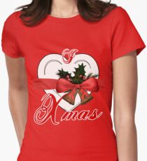 i love xmas - heart with christmas bells Women's Fitted T-Shirt